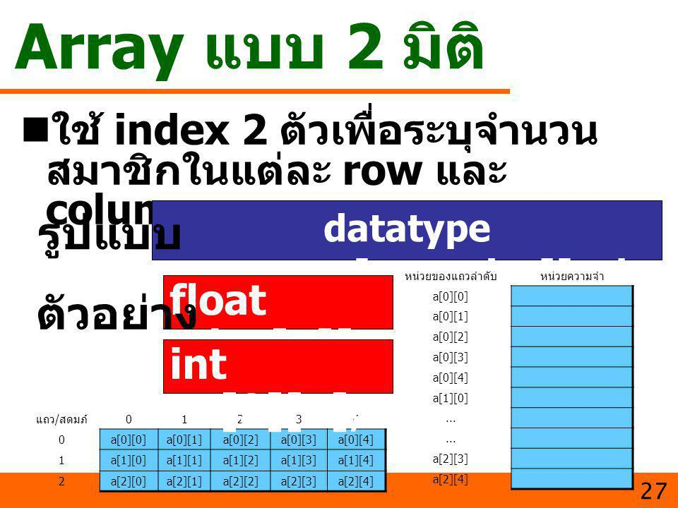 datatype varname[row_size][col_size];